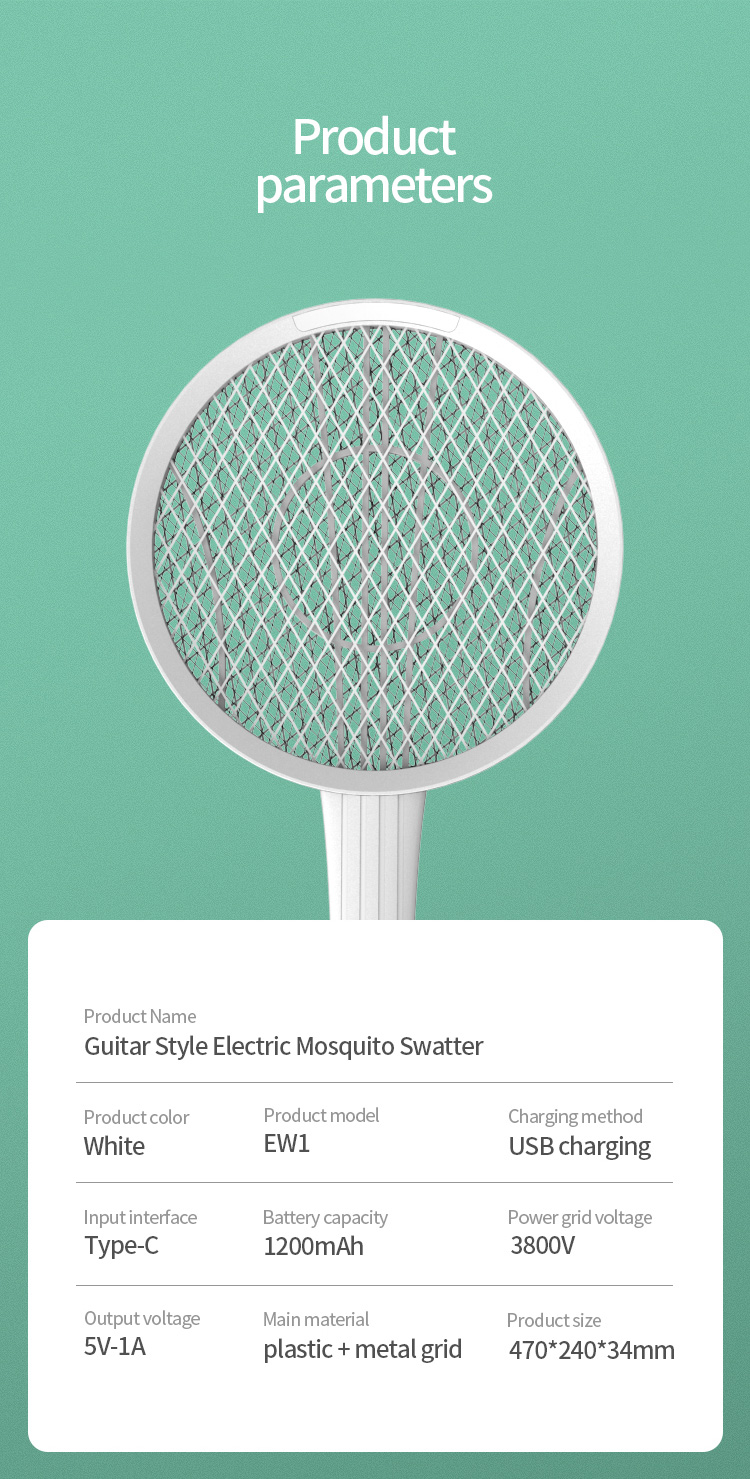 Multifunctional Guitar Electric Mosquito Racket Guitar Creative Wall-mounted Modeling Design USB Charging LED Mosquito Trap 12