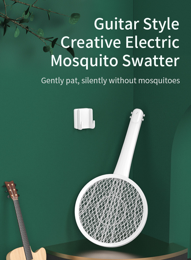 Multifunctional Guitar Electric Mosquito Racket Guitar Creative Wall-mounted Modeling Design USB Charging LED Mosquito Trap 0