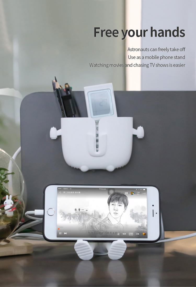 Astronaut Aircraft ABS+3M Adhesive Tape Hollow Design With Storage Space Detachable Independent Mobile Phone Holder 4