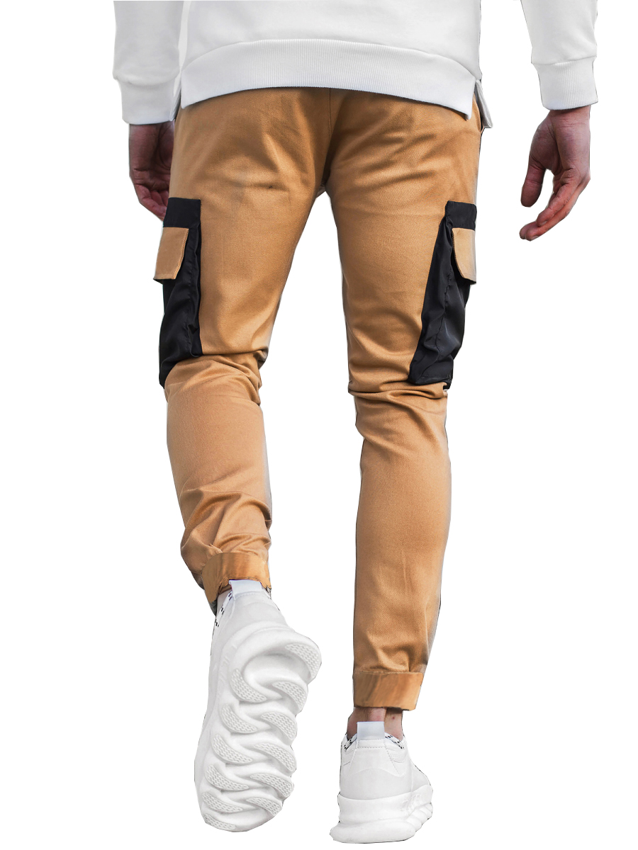 Men's Multi-pocket Stitching Color Matching Beamed Trousers Overalls Casual Patchwork Jogging Trousers Korean Fashion Hip-hop Punk Loose Pants Streetwear 1