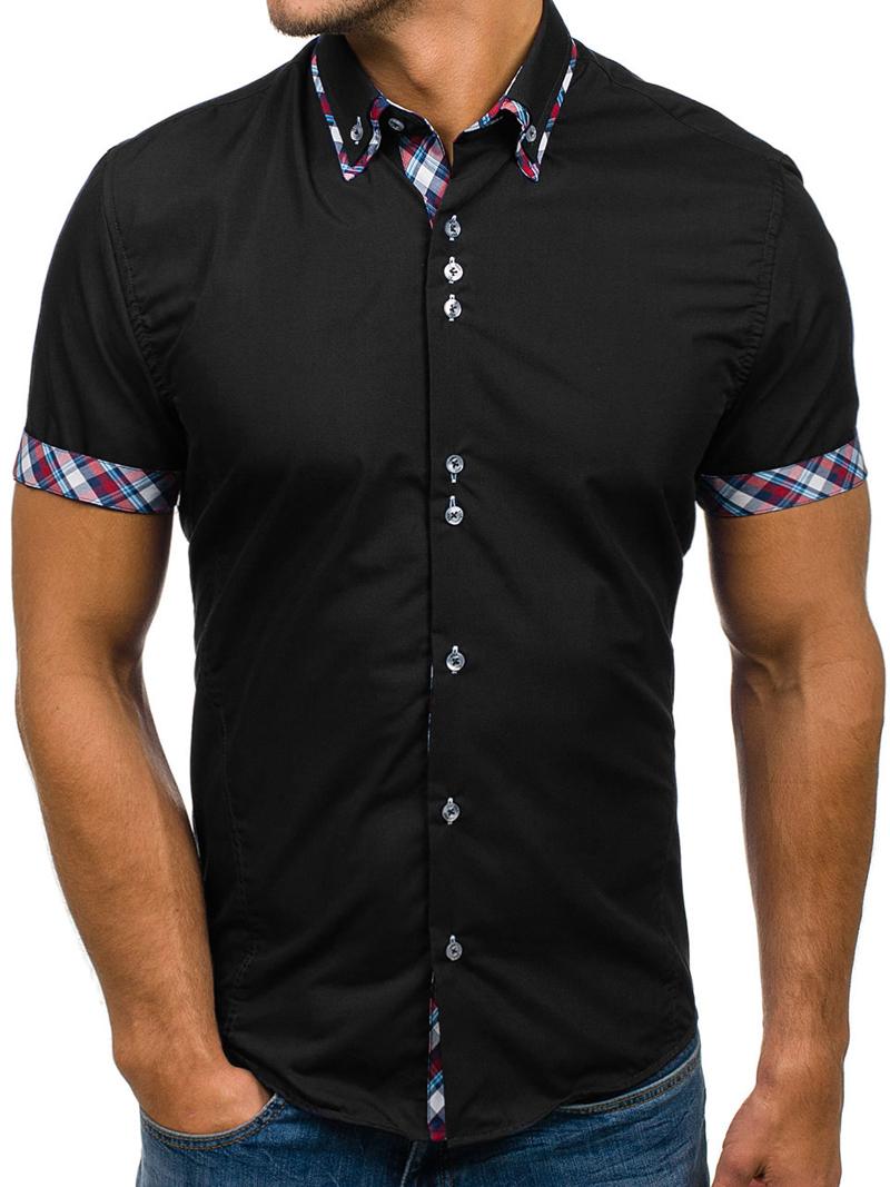 2020 Popular Classic Double Collar Plaid Matching Men's Casual Slim Short-sleeved Shirt 3
