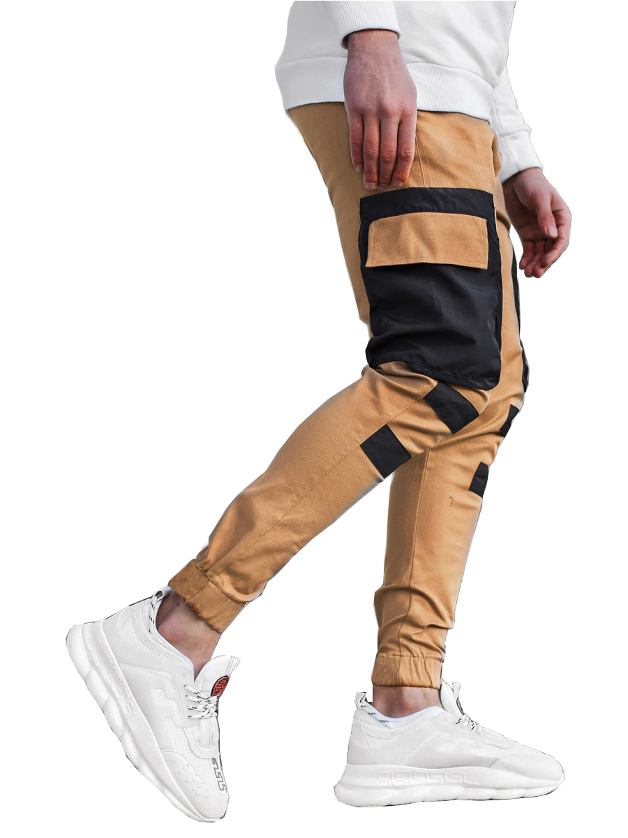 Men's Multi-pocket Stitching Color Matching Beamed Trousers Overalls Casual Patchwork Jogging Trousers Korean Fashion Hip-hop Punk Loose Pants Streetwear 2