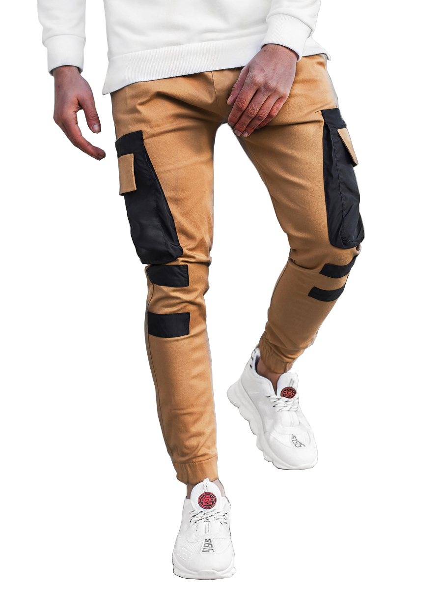 Men's Multi-pocket Stitching Color Matching Beamed Trousers Overalls Casual Patchwork Jogging Trousers Korean Fashion Hip-hop Punk Loose Pants Streetwear 3