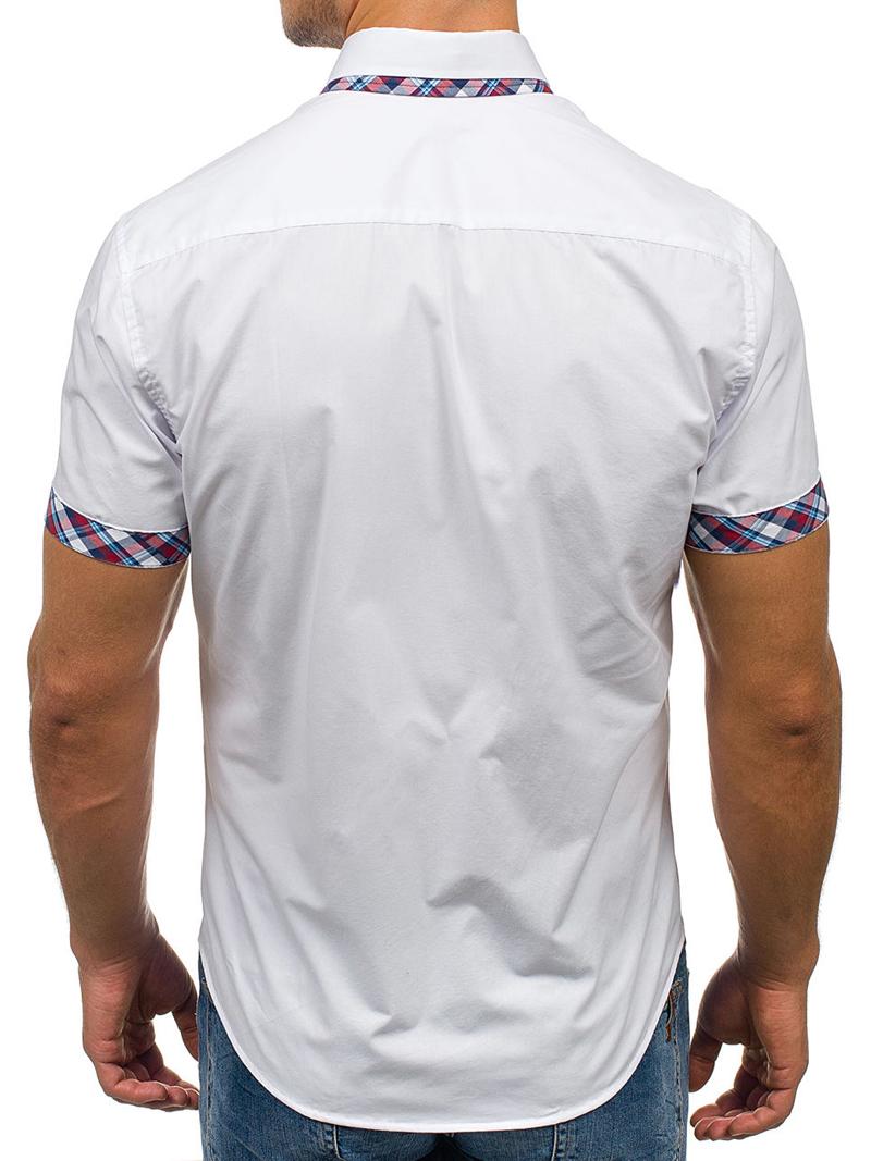 2020 Popular Classic Double Collar Plaid Matching Men's Casual Slim Short-sleeved Shirt 4