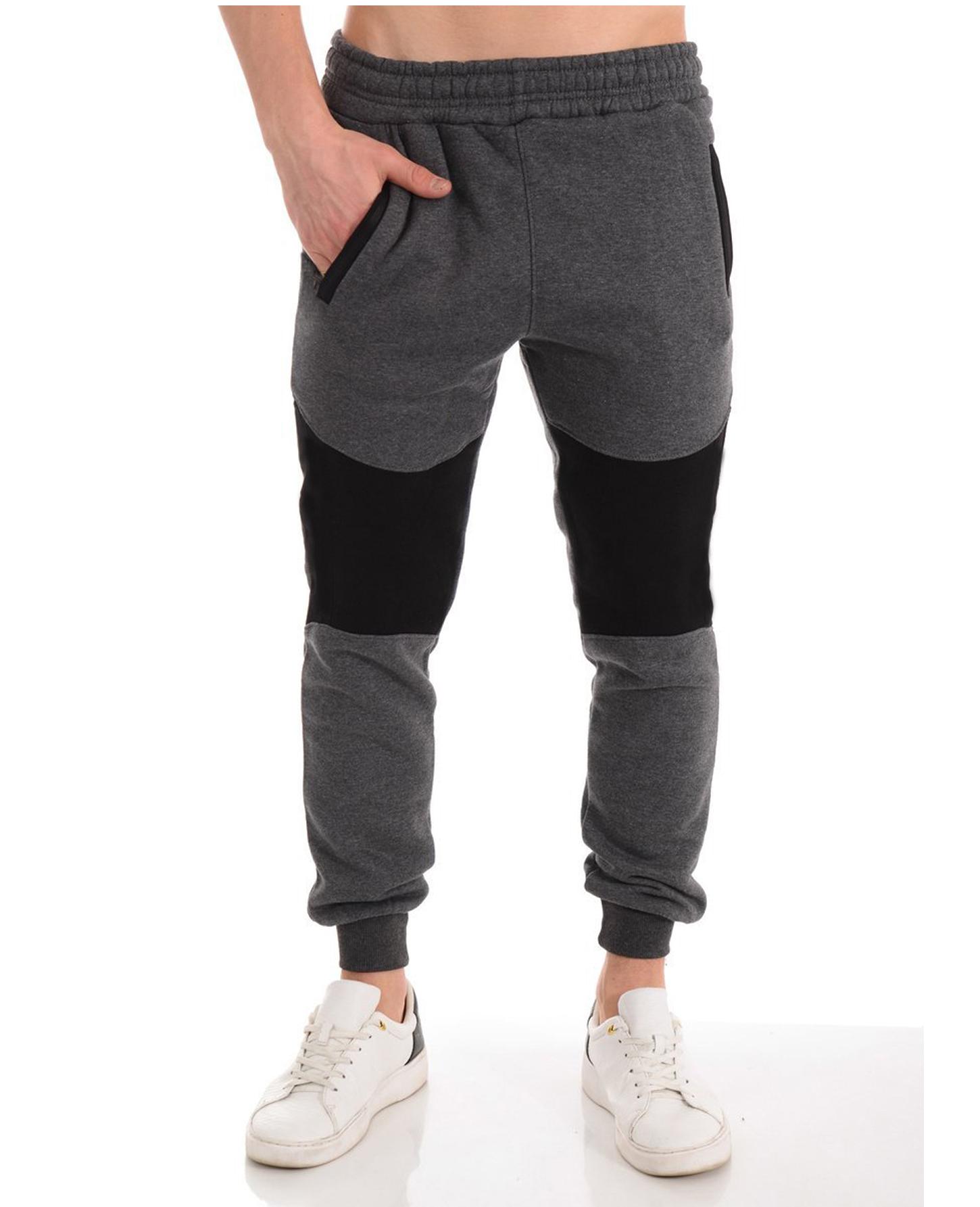 Men's Casual Zipper Stitching Trousers Autumn Pants Sports Jogging Pants 2020 New Men's Pants Tight Long Cotton Pants Sports Pants 1