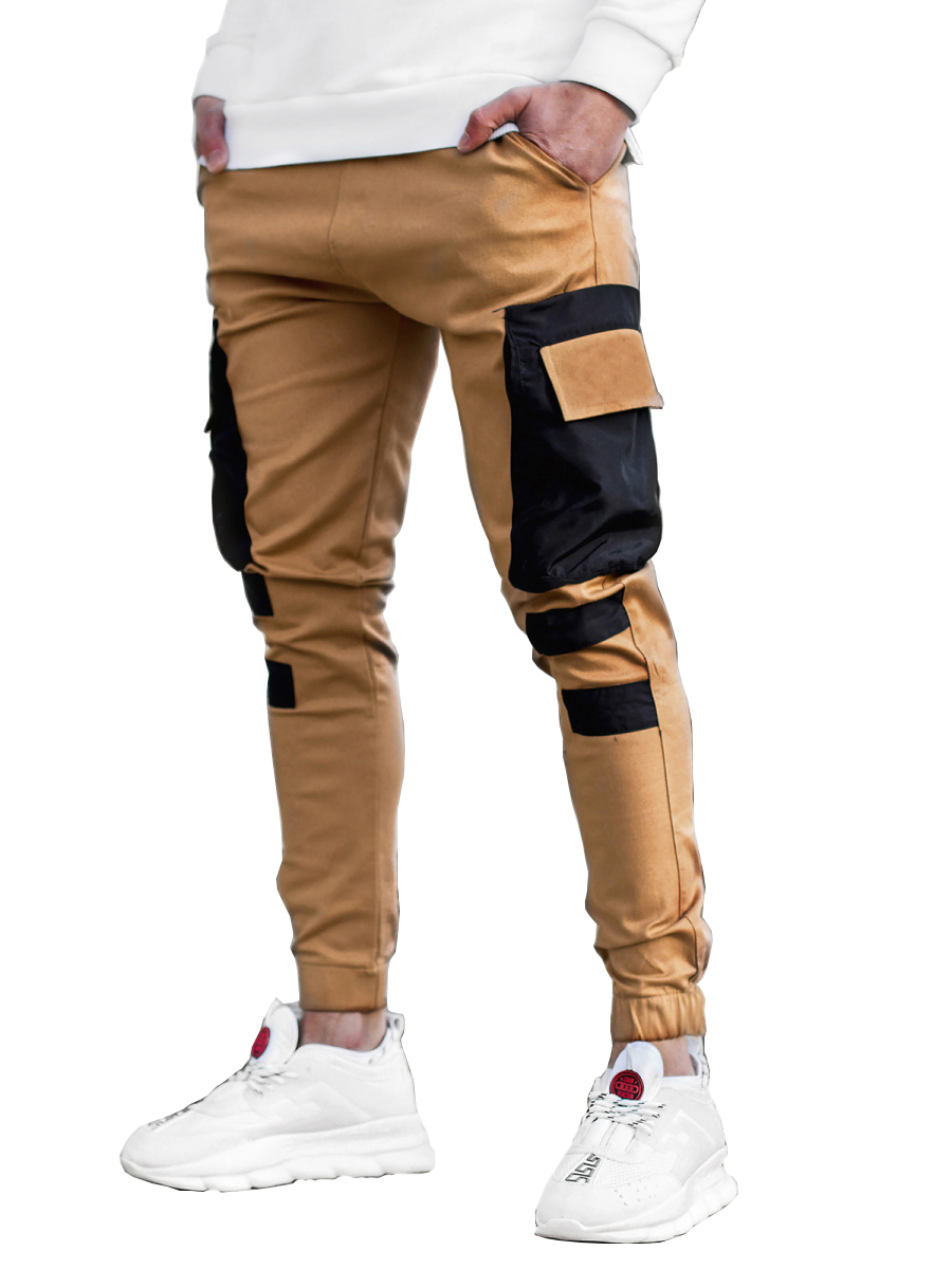 Men's Multi-pocket Stitching Color Matching Beamed Trousers Overalls Casual Patchwork Jogging Trousers Korean Fashion Hip-hop Punk Loose Pants Streetwear 4