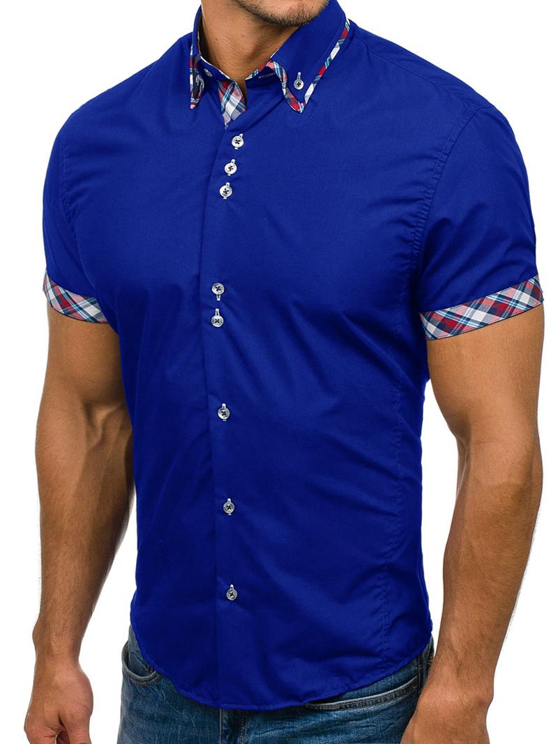 2020 Popular Classic Double Collar Plaid Matching Men's Casual Slim Short-sleeved Shirt 1