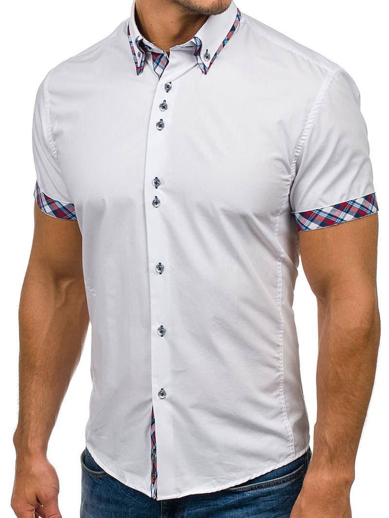 2020 Popular Classic Double Collar Plaid Matching Men's Casual Slim Short-sleeved Shirt 2