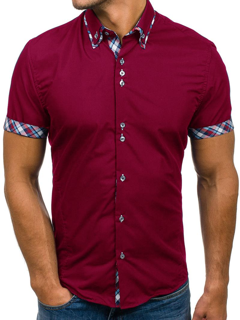 2020 Popular Classic Double Collar Plaid Matching Men's Casual Slim Short-sleeved Shirt 5