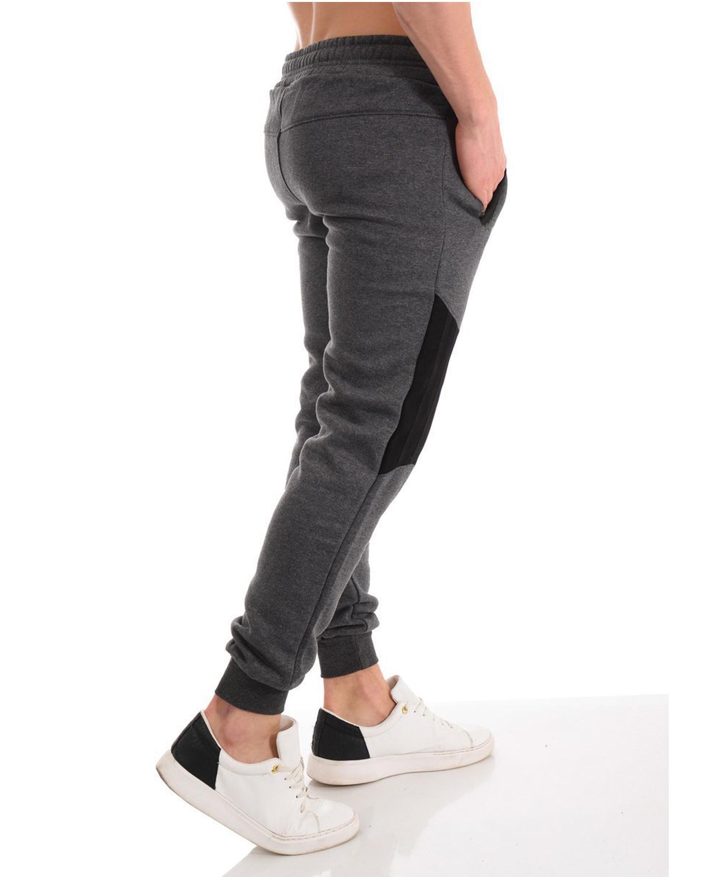Men's Casual Zipper Stitching Trousers Autumn Pants Sports Jogging Pants 2020 New Men's Pants Tight Long Cotton Pants Sports Pants 3