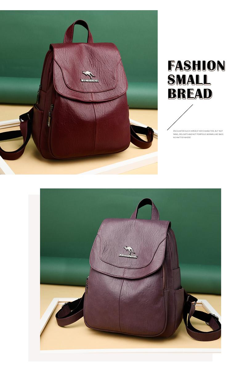 2020 Women's PU Leather Backpack School Bag Classic Waterproof Travel Multi-function Shoulder Bag 0