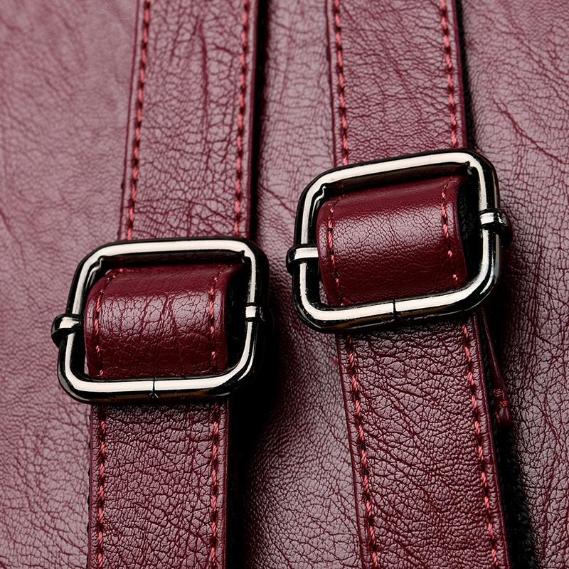 2020 Women's PU Leather Backpack School Bag Classic Waterproof Travel Multi-function Shoulder Bag 8