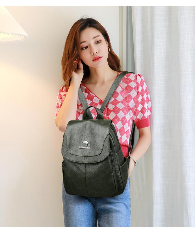 2020 Women's PU Leather Backpack School Bag Classic Waterproof Travel Multi-function Shoulder Bag 3