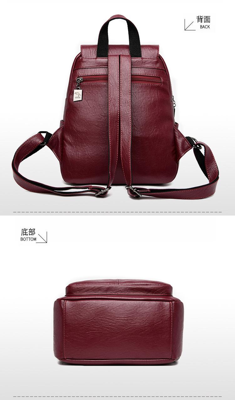2020 Women's PU Leather Backpack School Bag Classic Waterproof Travel Multi-function Shoulder Bag 7