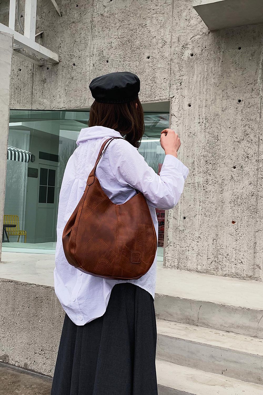 Messenger Bag Women Bucket Shoulder Bag Large Capacity Vintage Matte PU Leather Lady Handbag Design For Women And Girls 6