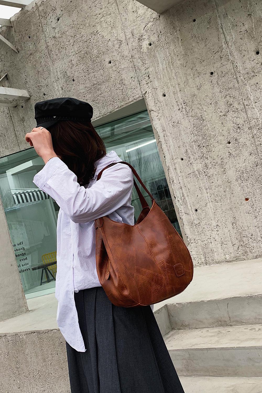 Messenger Bag Women Bucket Shoulder Bag Large Capacity Vintage Matte PU Leather Lady Handbag Design For Women And Girls 0