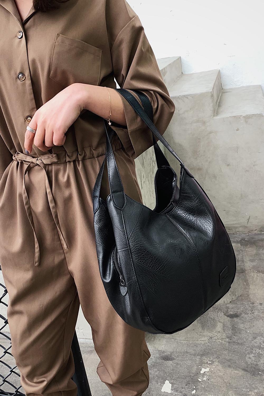 Messenger Bag Women Bucket Shoulder Bag Large Capacity Vintage Matte PU Leather Lady Handbag Design For Women And Girls 5