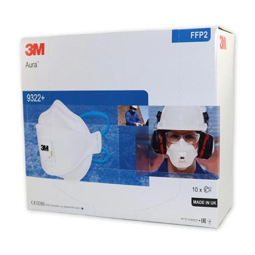 3M Aura 9322+ Valved FFP2 Dust Mask Hand Sanding and Power Tool Respirator Pack of 10 0
