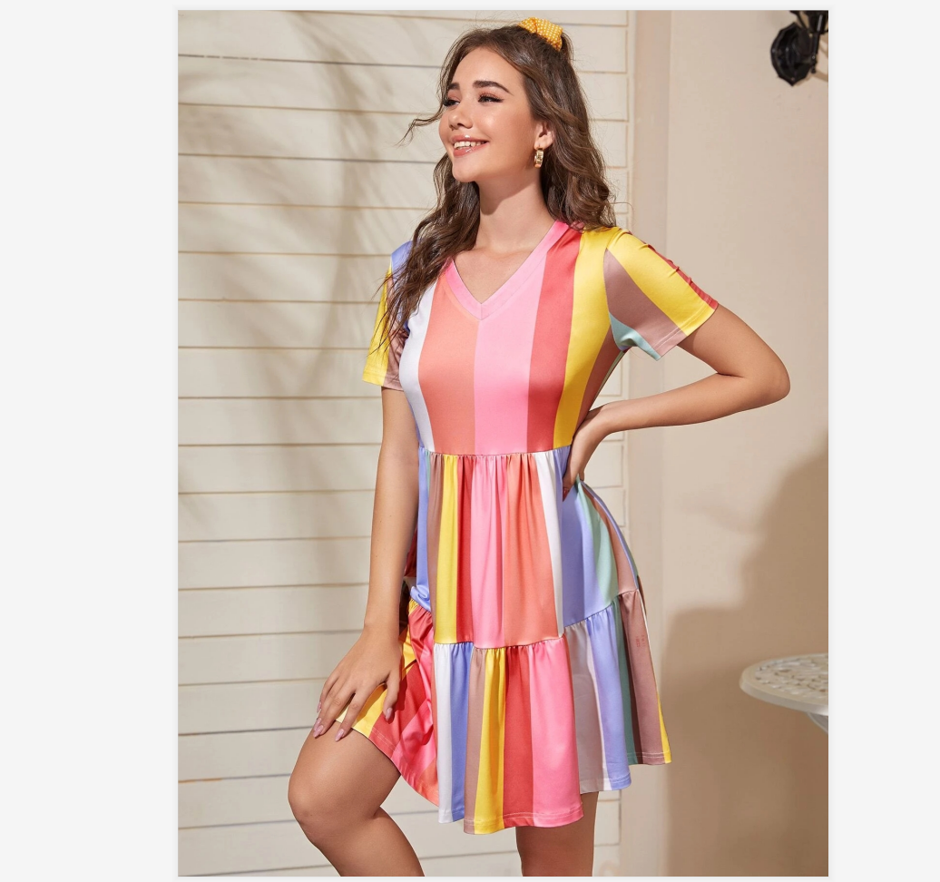 2020 Spring And Summer Stitching Color Contrast Dress Female Summer Bohemian Rainbow Color Dress Sweet And Cute Beachwear Sunscreen Skirt 2