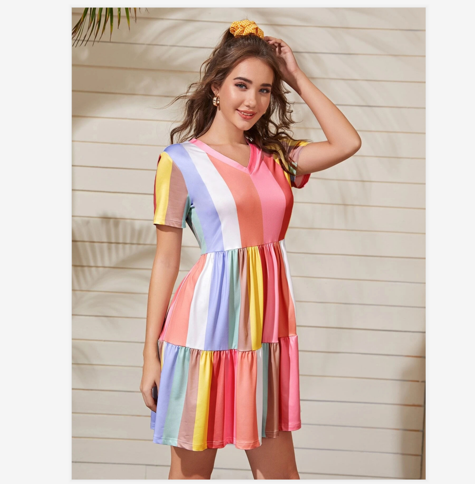 2020 Spring And Summer Stitching Color Contrast Dress Female Summer Bohemian Rainbow Color Dress Sweet And Cute Beachwear Sunscreen Skirt 1