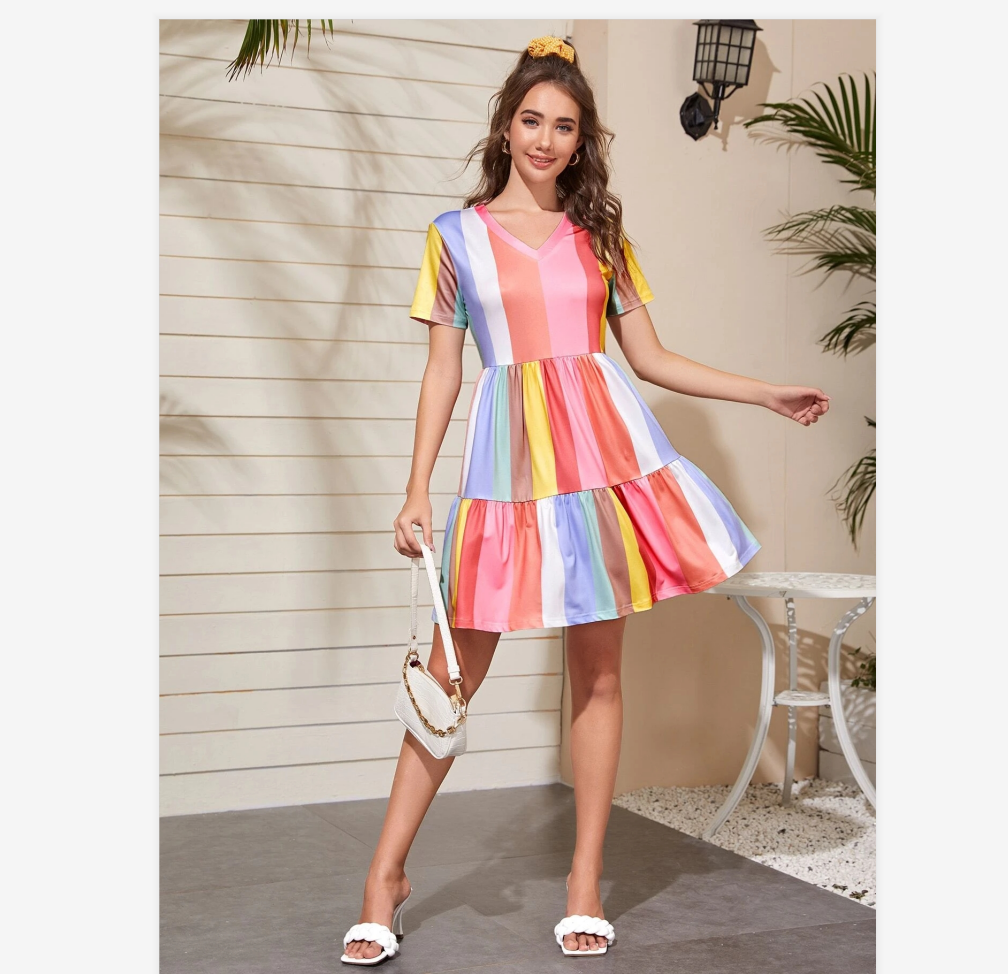 2020 Spring And Summer Stitching Color Contrast Dress Female Summer Bohemian Rainbow Color Dress Sweet And Cute Beachwear Sunscreen Skirt 4