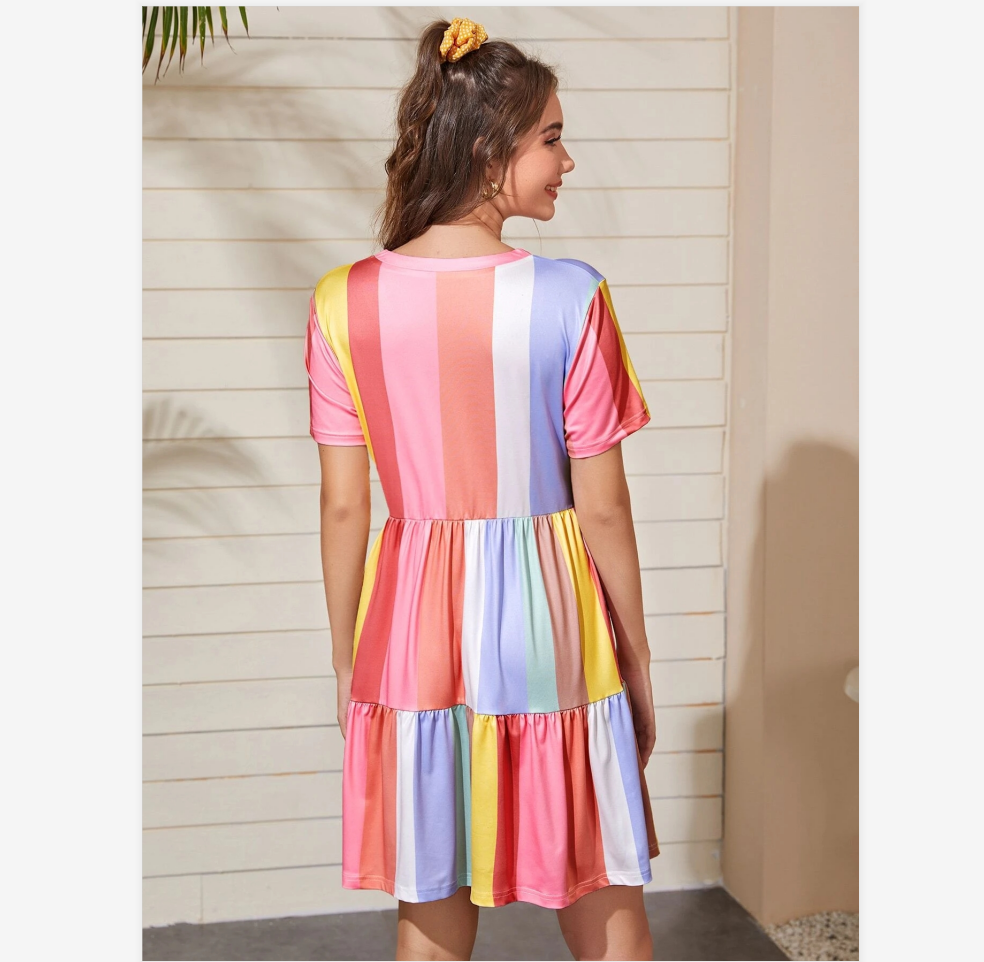 2020 Spring And Summer Stitching Color Contrast Dress Female Summer Bohemian Rainbow Color Dress Sweet And Cute Beachwear Sunscreen Skirt 5