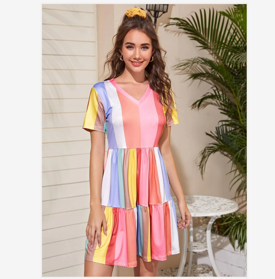 2020 Spring And Summer Stitching Color Contrast Dress Female Summer Bohemian Rainbow Color Dress Sweet And Cute Beachwear Sunscreen Skirt 3