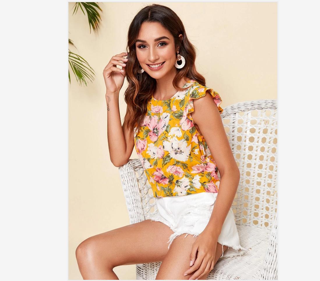 New Women Blouses Holiday Casual Short Sleeve Tops Ladies Printed Shirt Korean Summer Fashion Women Clothing 5