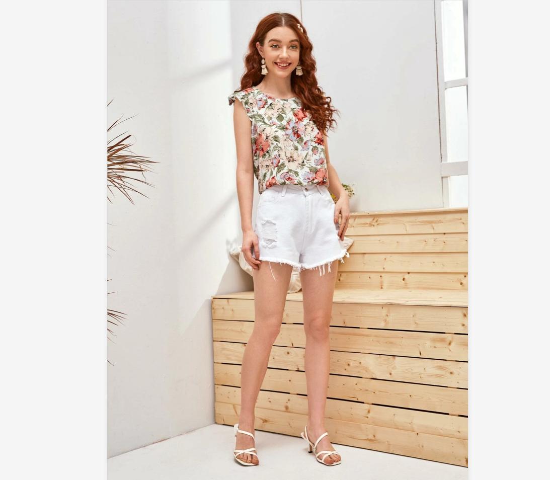 New Women Blouses Holiday Casual Short Sleeve Tops Ladies Printed Shirt Korean Summer Fashion Women Clothing 2
