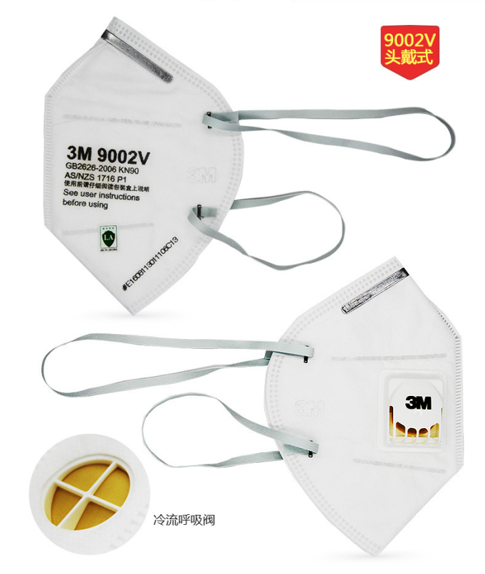 3M 9002V KN90 Particulate Respirator Head-mounted Masks with Breathing Valve PM2.5 Face Mask 0