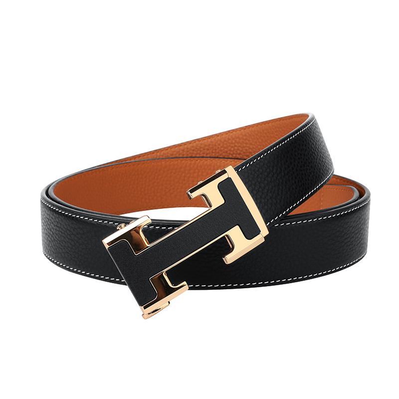 PLOVER Top Layer Cowhide Zinc Alloy Buckle Minimalist Super Soft Smooth Men's Sliding Buckle Belt Men's Student Casual Youth Belt 4
