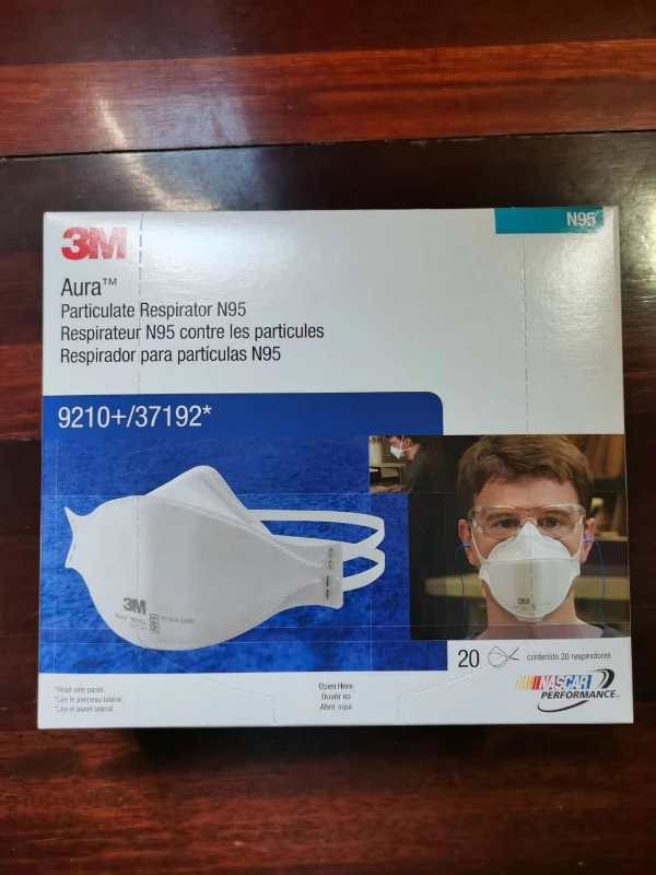 3M Aura 9210+ NIOSH N95 Particulate Respirator Flat Fold Face Masks Box of 20 0