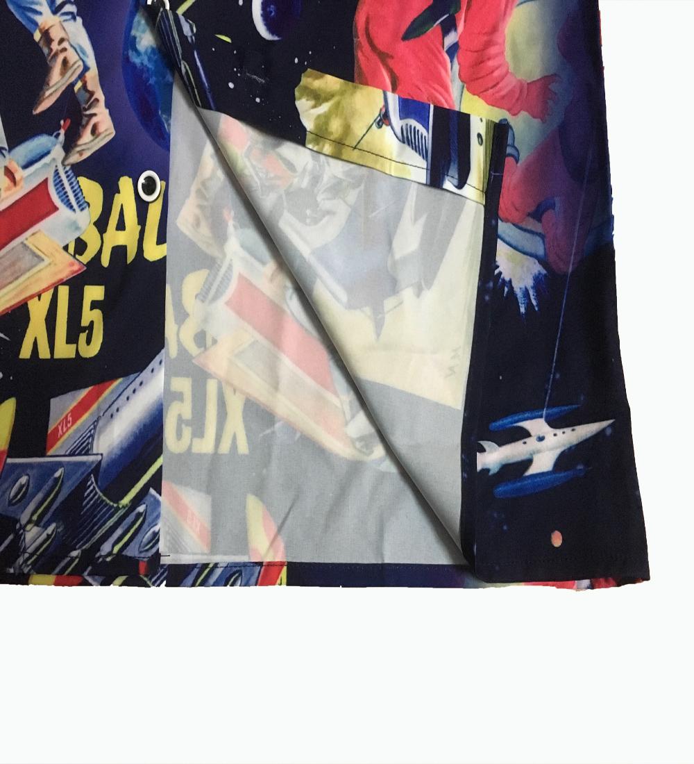 2020 Summer Couple Clothes Men And Women Street European Style Casual Superman Rocket Print Loose Lapel Short Sleeve Shirt 5