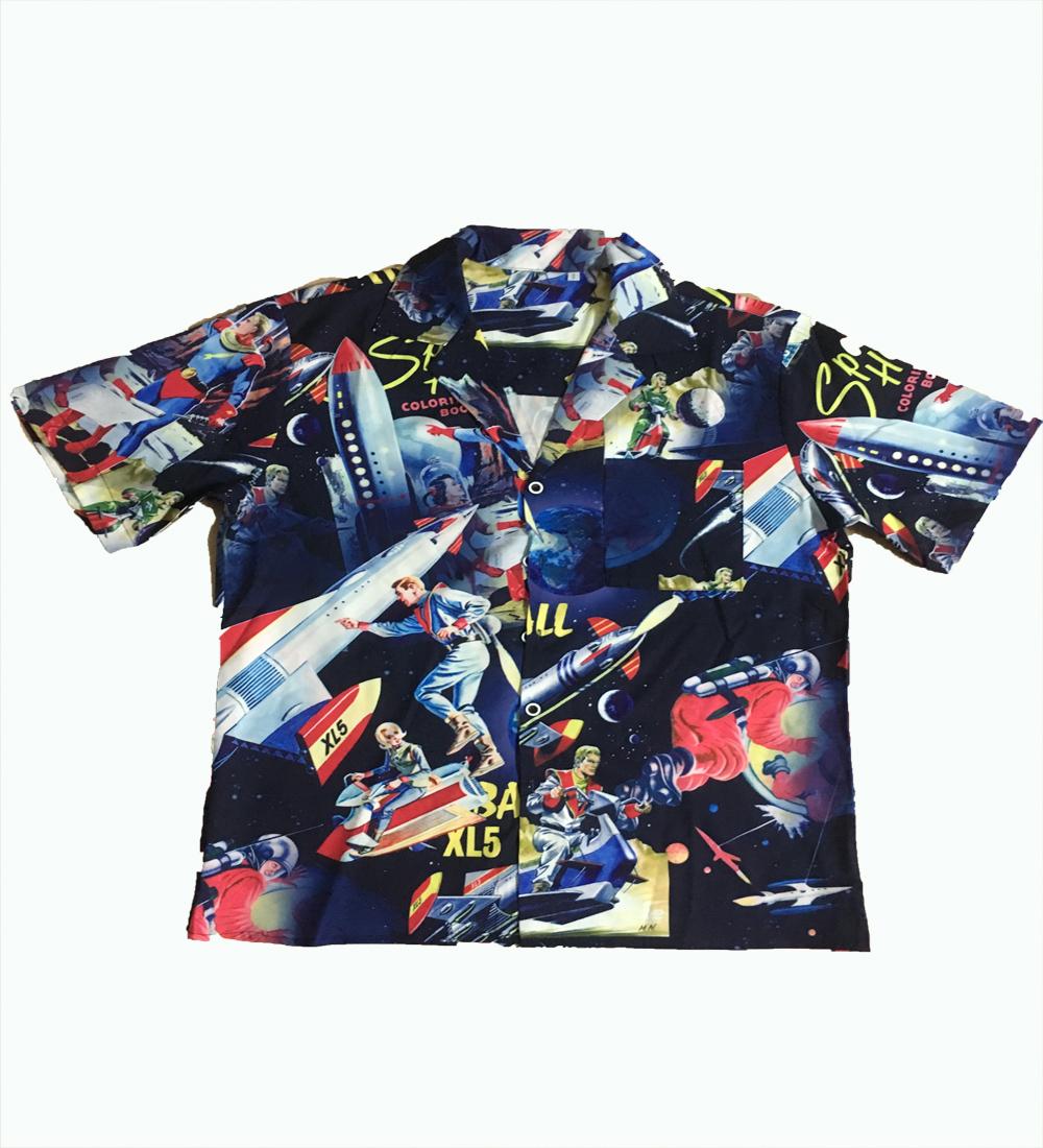 2020 Summer Couple Clothes Men And Women Street European Style Casual Superman Rocket Print Loose Lapel Short Sleeve Shirt 4