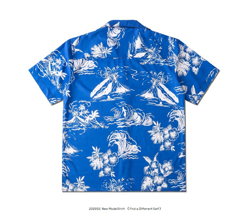 Spring And Summer New Couple Street Fashion Brand Small Fresh Star With The Same Paragraph Floral Print Loose Short-sleeved Shirt Design For Men And Women  2