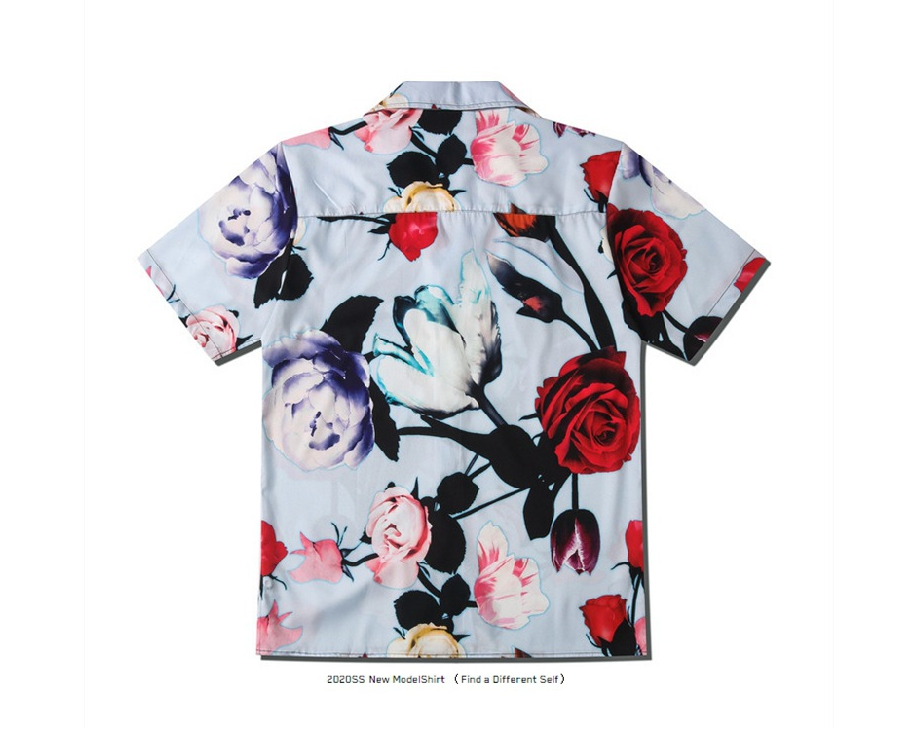 2020 Spring And Summer Tide Brand Street Couples New Color Floral Print Lapel Cardigan Short Sleeve Shirt For Men And Women  1