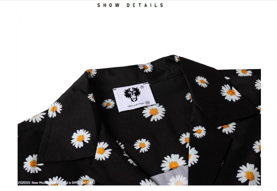 2020 Spring And Summer European Style Couples Small Daisy Print Loose Lapel Casual Short-sleeved Shirt Trend For Men And Women  3