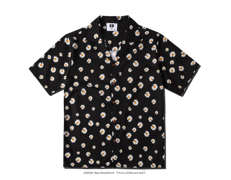 2020 Spring And Summer European Style Couples Small Daisy Print Loose Lapel Casual Short-sleeved Shirt Trend For Men And Women  1