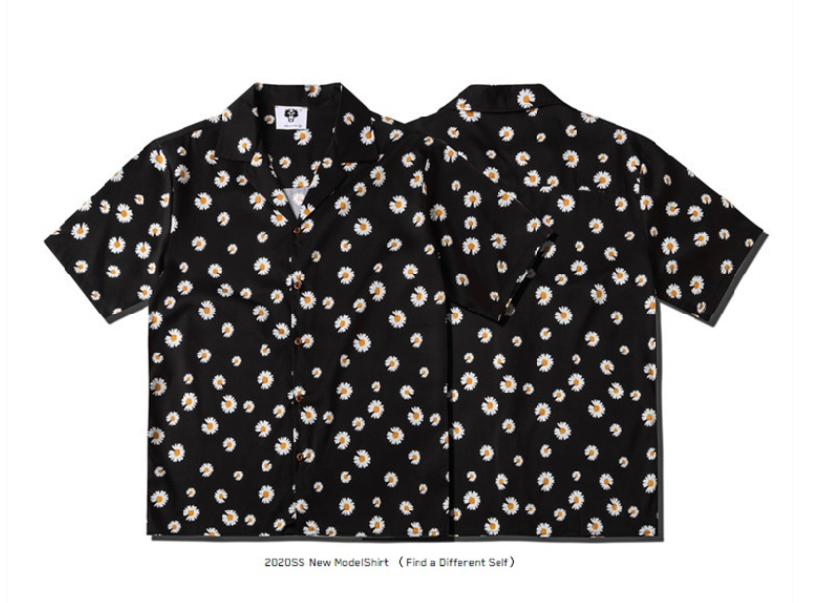2020 Spring And Summer European Style Couples Small Daisy Print Loose Lapel Casual Short-sleeved Shirt Trend For Men And Women  2