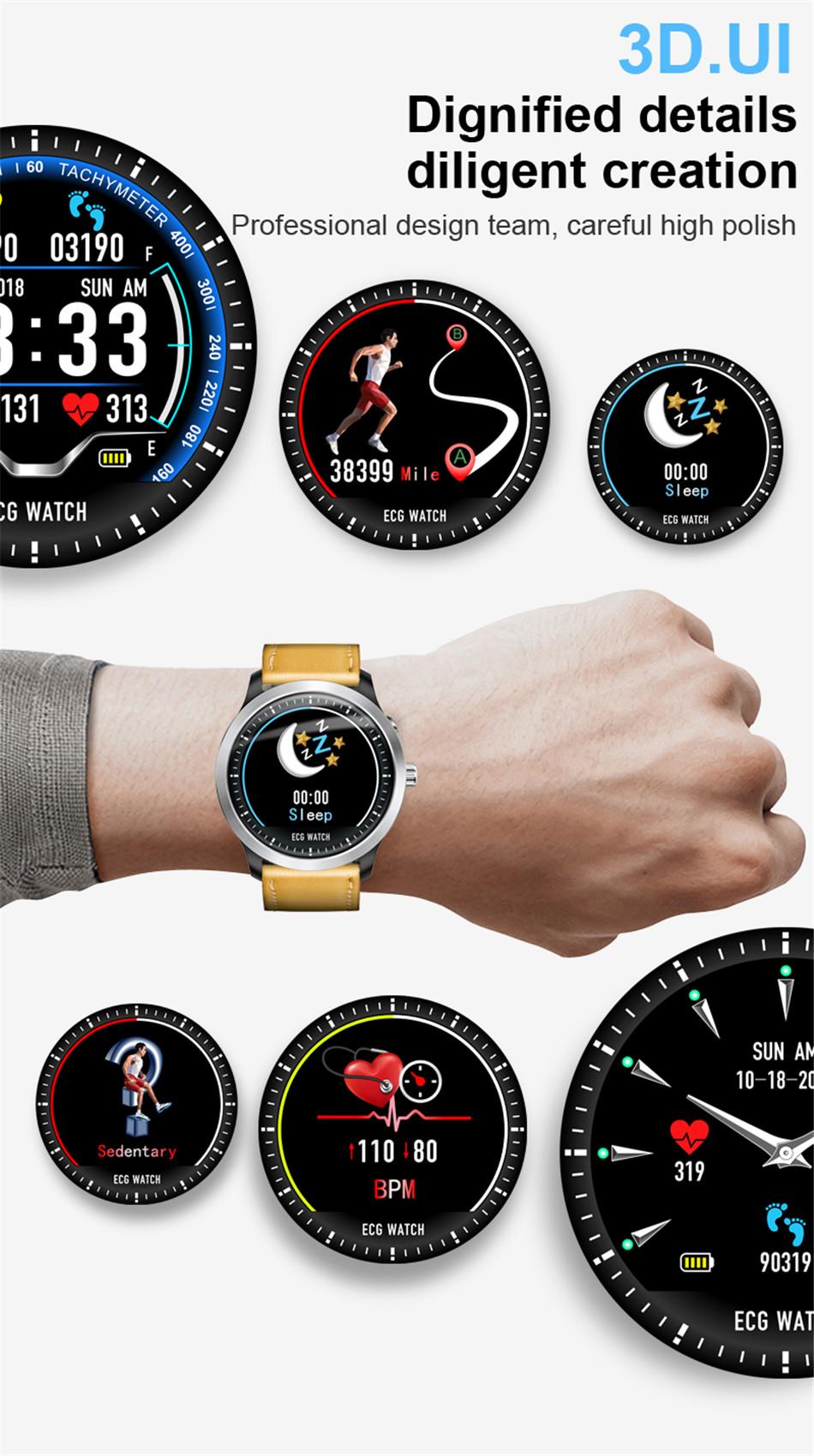 N58 Steel Band Smart Watch ECG ECG+PPG Sports Waterproof Bracelet HRV Report Blood Pressure Heart Rate Test  5