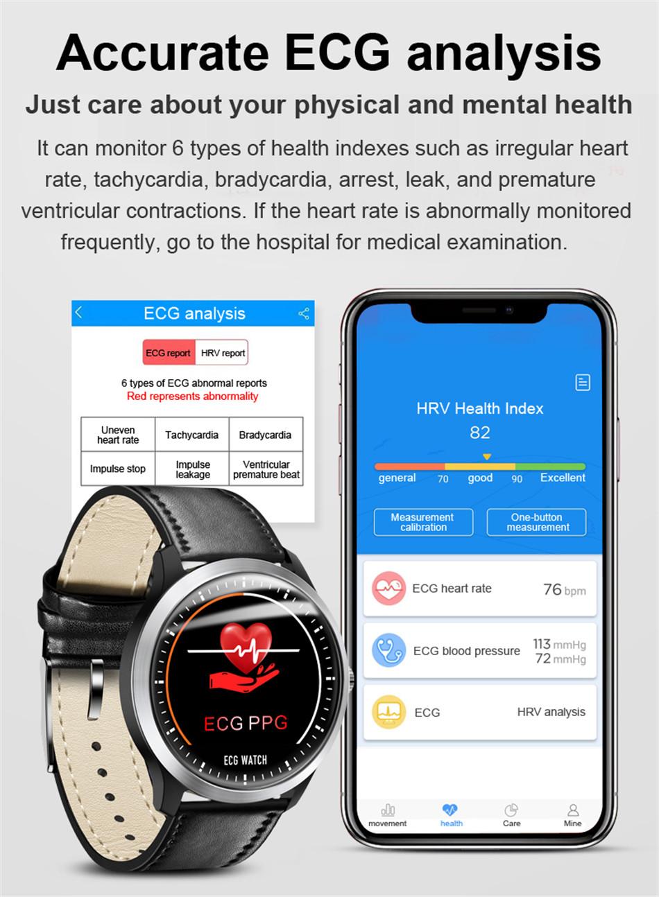 N58 Steel Band Smart Watch ECG ECG+PPG Sports Waterproof Bracelet HRV Report Blood Pressure Heart Rate Test  3