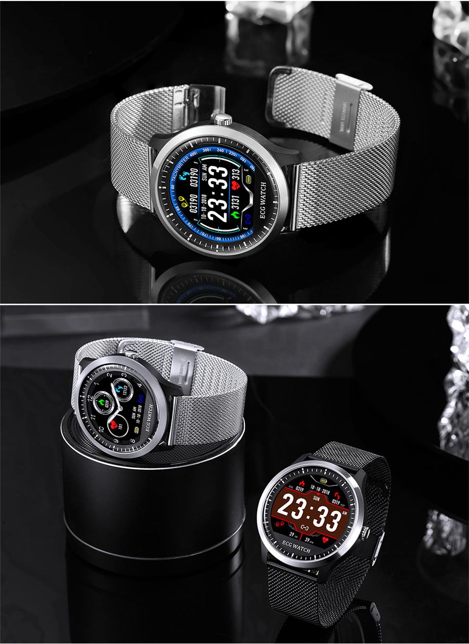 N58 Steel Band Smart Watch ECG ECG+PPG Sports Waterproof Bracelet HRV Report Blood Pressure Heart Rate Test  11