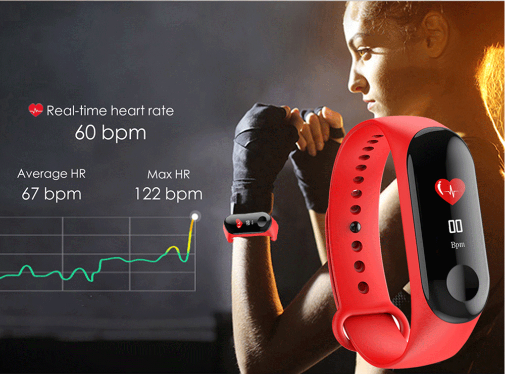M3 New Sports Pedometer Heart Rate And Blood Pressure Monitoring Personalized WeChat Sports Smart Bracelet 7