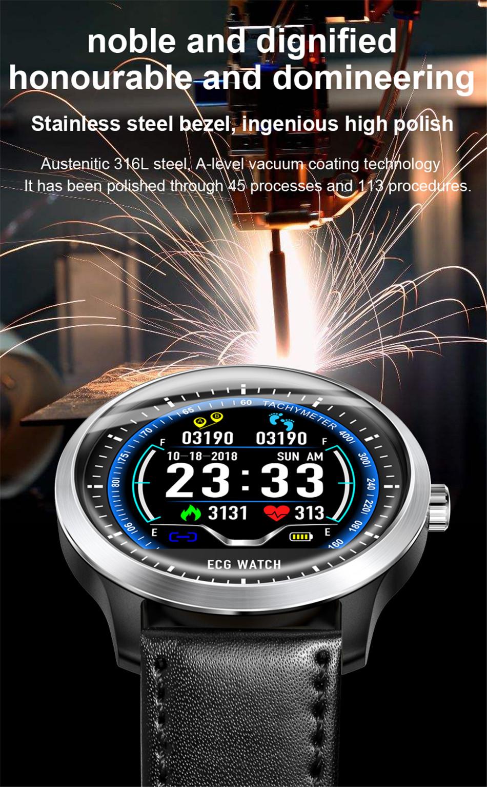 N58 Steel Band Smart Watch ECG ECG+PPG Sports Waterproof Bracelet HRV Report Blood Pressure Heart Rate Test  4