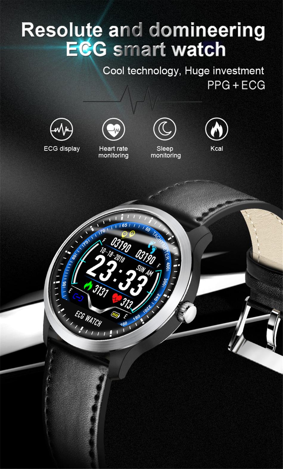 N58 Steel Band Smart Watch ECG ECG+PPG Sports Waterproof Bracelet HRV Report Blood Pressure Heart Rate Test  0