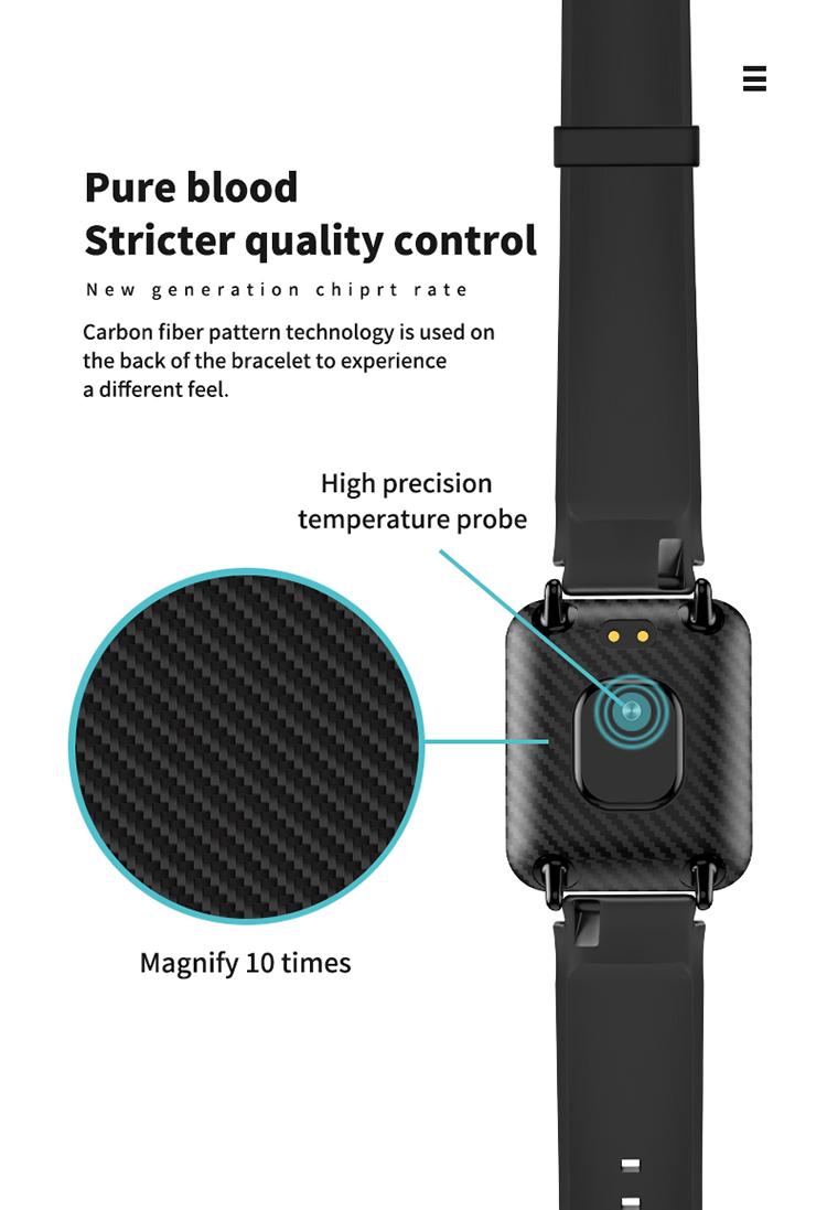 V6 Body Temperature Smart Bracelet Heart Rate Blood Pressure Oximeter Step Waterproof Sports Bracelet 7