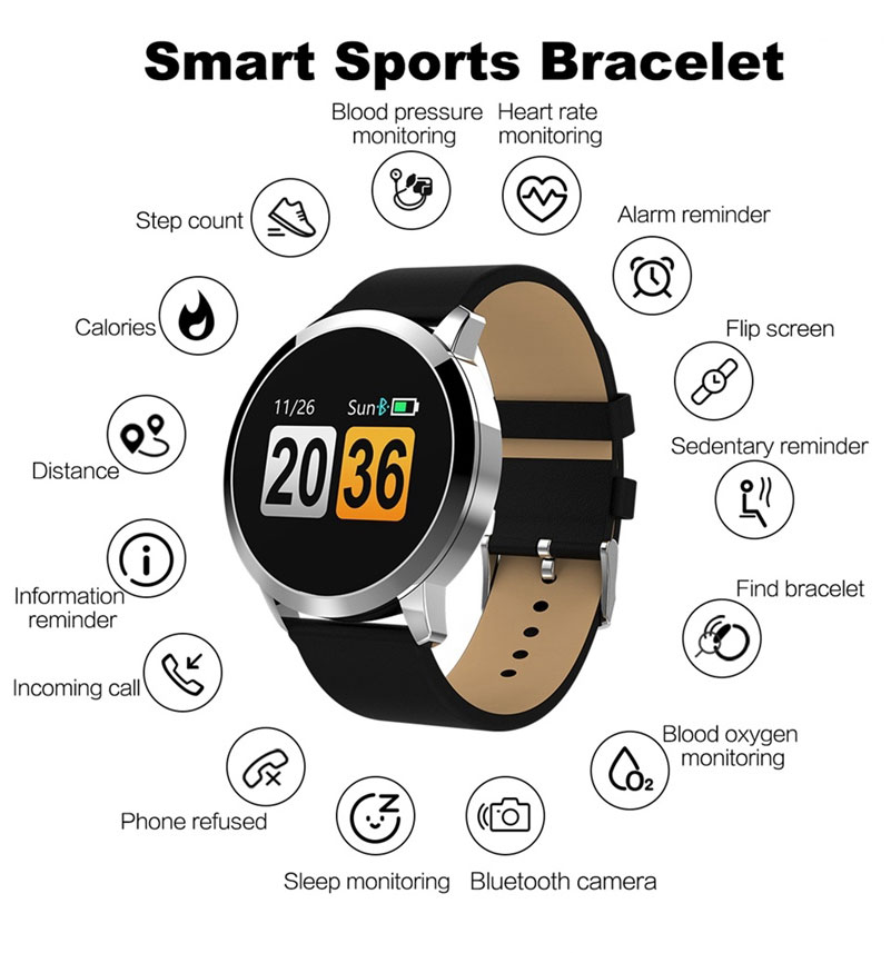 2020 New Q8 Color Screen Waterproof Sleep Heart Rate Blood Pressure Oximeter Step Exercise Super Long Battery Life Smart Bracelet 6