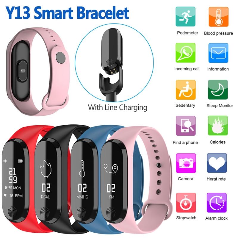 Smart Bracelet Y13/M3 Color Screen Pedometer Heart Rate Blood Pressure Blood Oxygen Sleep Monitoring Waterproof Smart Bracelet 3