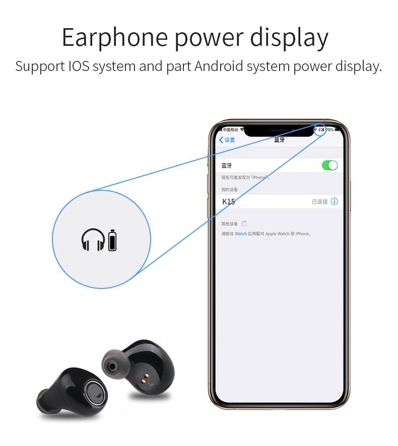 New Touch K12 Wireless Binaural 5.0 Sports Mini In-ear Noise Reduction Bluetooth Headset 12