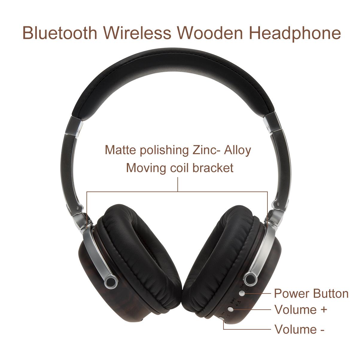 2020 Multifunctional Professional HIFI Music Wooden Headset Alloy High-fidelity Bluetooth Headset 1